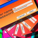 Lots of colourful login/password screens scattered on top of each other.