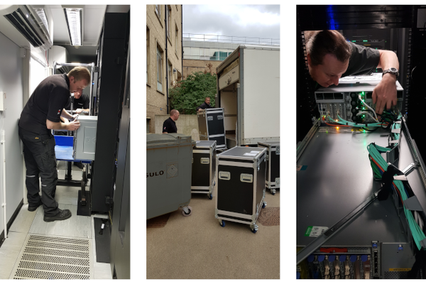 Three images showing data centre move (servers, wires etc)