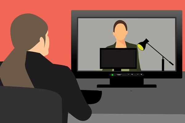 Drawing of person watching a video conference