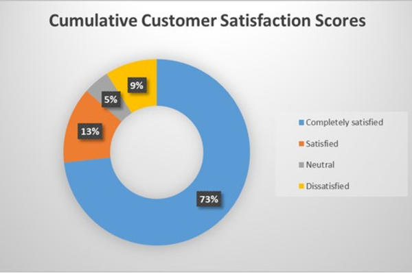 Customer satisfaction graph - 86 per cent satisfied in first six months