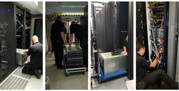 Four images showing data centre move (servers, wires etc)