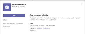 For illustration only: Teams channel calendar screenshot