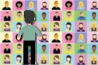 Cartoon image of a person standing in front of a wall of squares filled with other faces (representing video conferencing)
