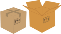 Cartoon image of a closed cardboard box and an open cardboard box