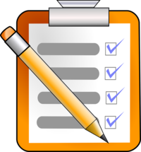 Cartoon image of a checklist and pencil