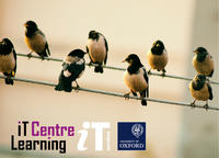 Brochure cover - words say 'IT Learning Centre'. IT Services and Oxford Uni logos are shown.  Image: birds on wires (online)
